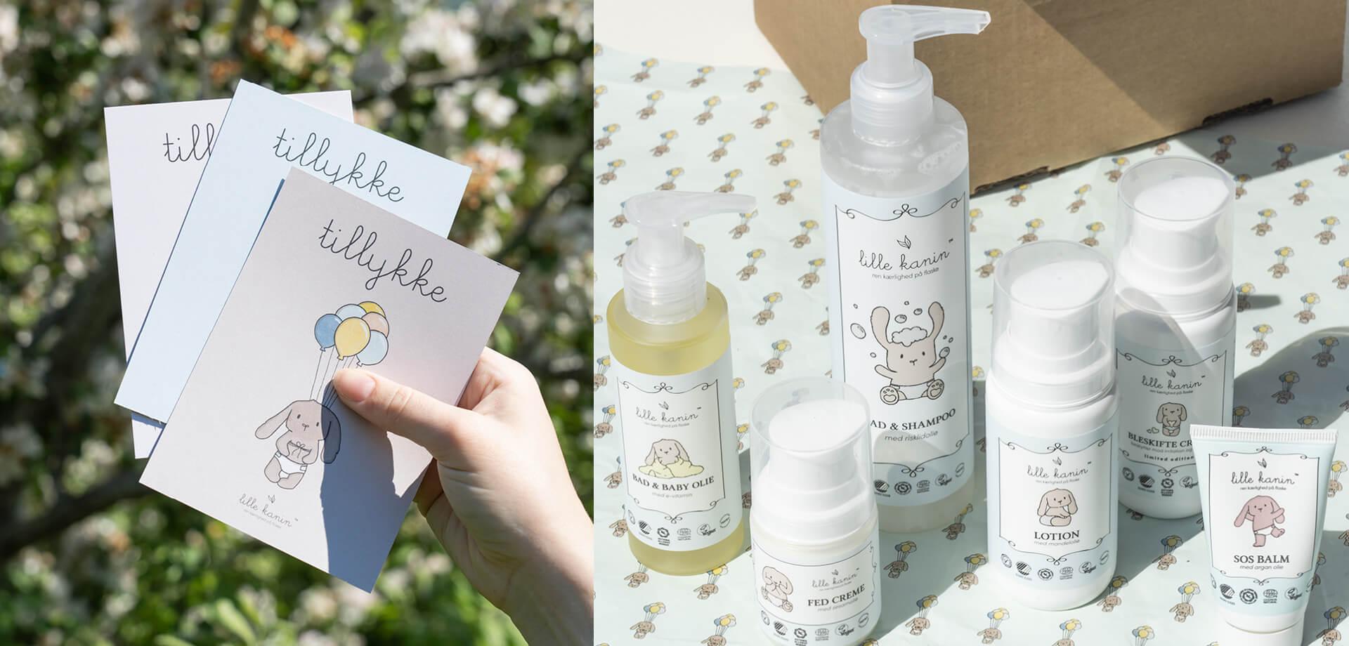 produkter fra lille kanin samt tillykke kort